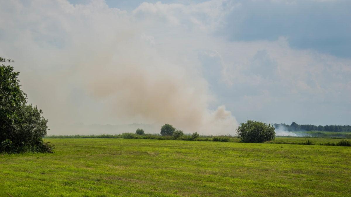 Veel stank en rook bij kleine natuurbrand in Wanneperveen