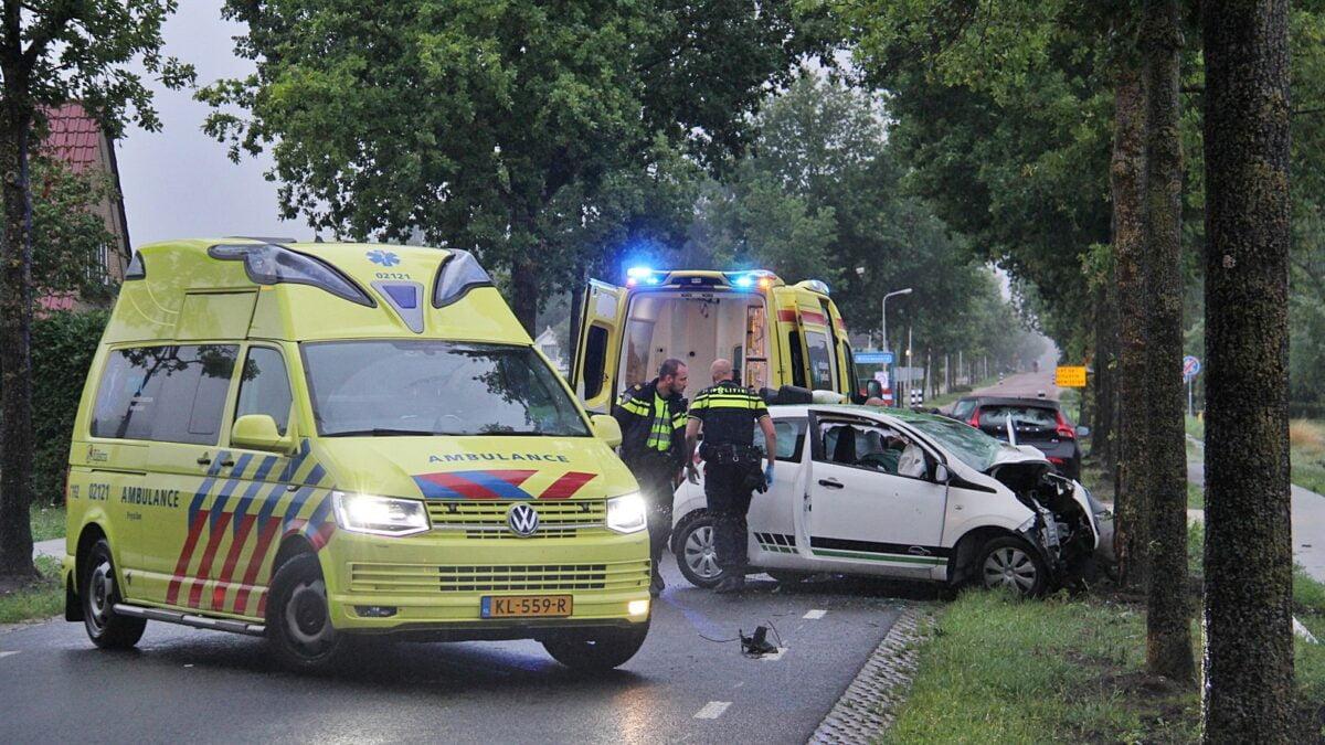 Auto tegen boom op Steenwijkerweg in Willemsoord